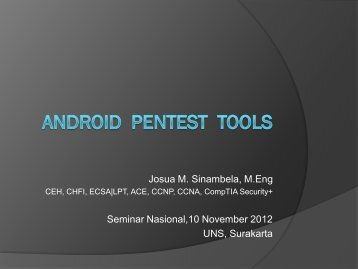 Josua M. Sinambela, M.Eng Seminar Nasional,10 November 2012 UNS, Surakarta