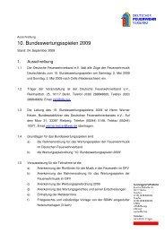 Ausschreibung 10. Bundeswertungsspielen 2009