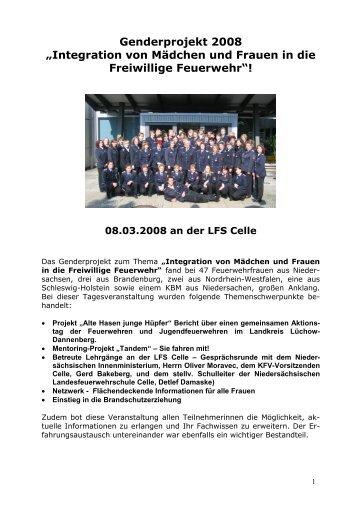 """Genderprojekt 2008 """"Integration von Mädchen und Frauen in die  ..."""