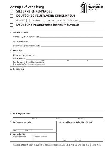 Antrag auf Verleihung des Deutschen Feuerwehr-Ehrenkreuzes