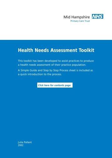 Health Needs Assessment Toolkit