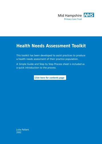 Health Needs Assessment Toolkit