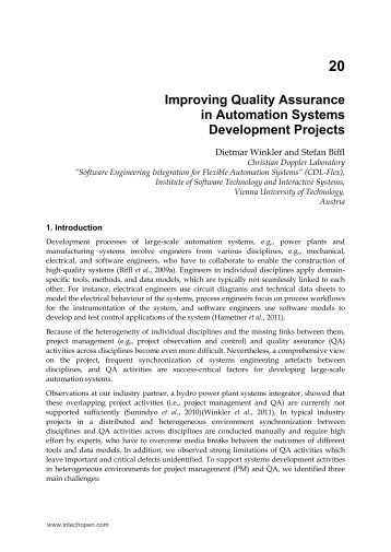 Improving Quality Assurance in Automation Systems ... - cdn - InTech