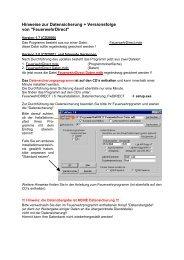 Hinweise zur Datensicherung + Versionsfolge von