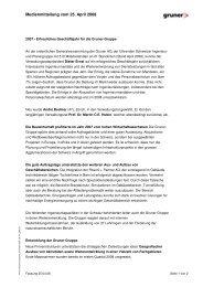 Medienmitteilung vom 25. April 2008 - Gruner AG