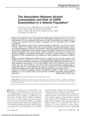 The Association Between Alcohol Consumption and Risk of COPD ...