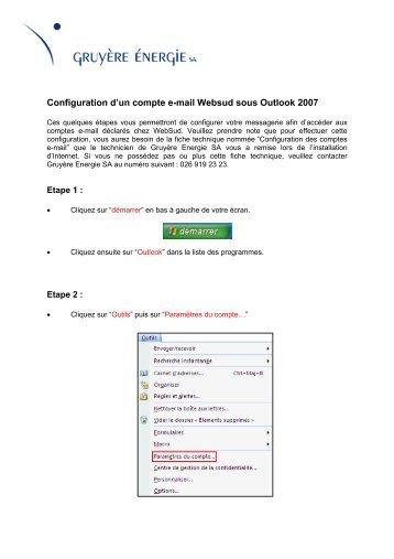 Configuration d'un compte e-mail Websud sous ... - Gruyère Energie