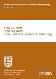 Blatt CC 7910 Freiburg-Nord Karte und Tabellarische Erläuterung