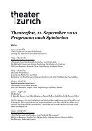 Theaterfest, 11. September 2010 Programm nach Spielorten