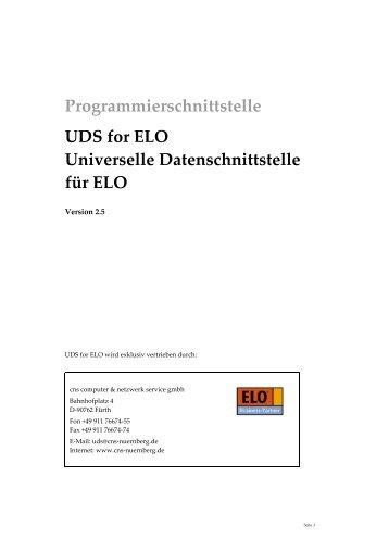 Programmierschnittstelle UDS for ELO Universelle ...