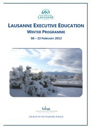 lausanne executive education - Lausanne Hospitality Consulting