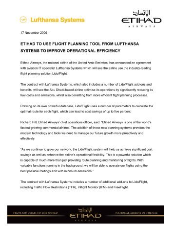 etihad to use flight planning tool from lufthansa systems to improve ...