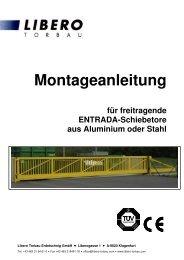 Montageanleitung Schiebetor - LIBERO Torbau Erdetschnig GmbH