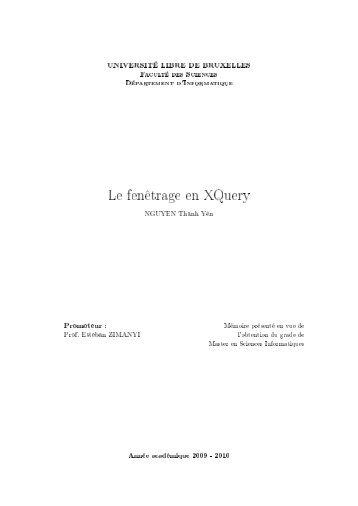 Le fenêtrage en XQuery - CoDE - Université Libre de Bruxelles