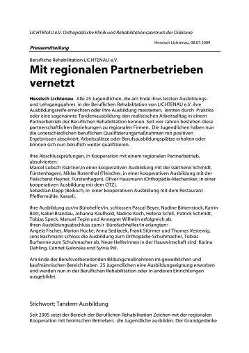 Mit regionalen Partnerbetrieben vernetzt - Lichtenau e.V.
