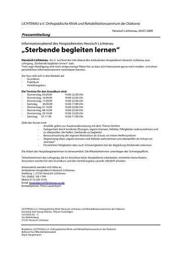 """Sterbende begleiten lernen"" - Lichtenau e.V."