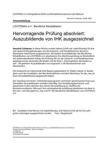 Hervorragende Prüfung absolviert: Auszubildende ... - Lichtenau e.V.