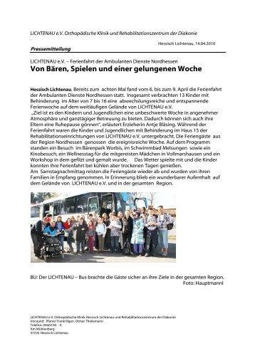 Ferienfahrt der Ambulanten Dienste Nordhessen - Lichtenau e.V.