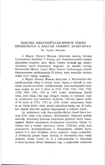 Herczeg Khevenhüller-Metsch József Emlékiratai a MN ... - EPA