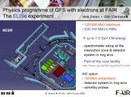 Physics programme of QFS with electrons at FAIR - NT¤ at ...
