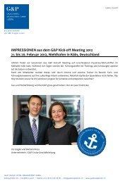 IMPRESSIONEN aus dem G&P Kick-off Meeting ... - Gsell & Partner