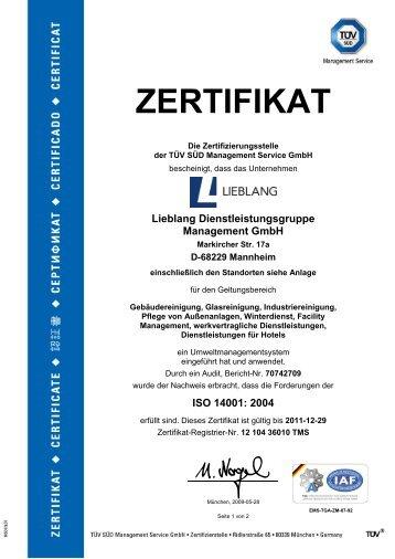 Zertifikat für das Umweltmanagementsystem ISO ... - Lieblang.com