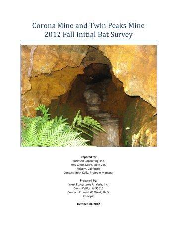 Corona Mine and Twin Peaks Mine 2012 Fall Initial Bat ... - Tuleyome