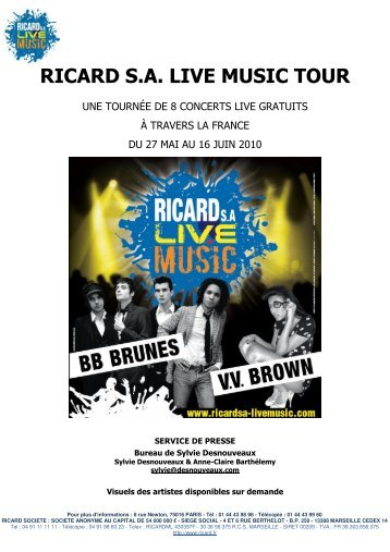 RICARD S.A. LIVE MUSIC TOUR