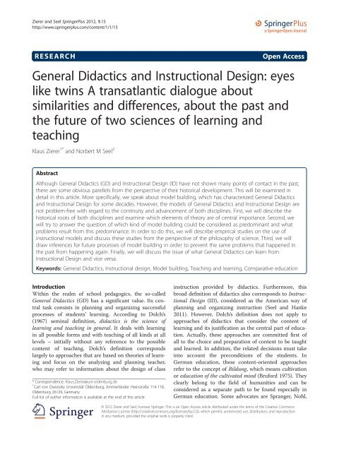 General Didactics And Instructional Design Eyes Like Twins A