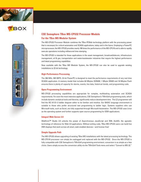 T-BOX MS-CPU32 processor module - Semaphore
