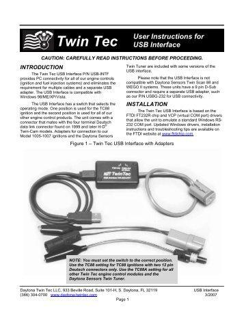 Twin Tec User Instructions For Usb Interface Daytona Sensors Llc on Tech Tc88a