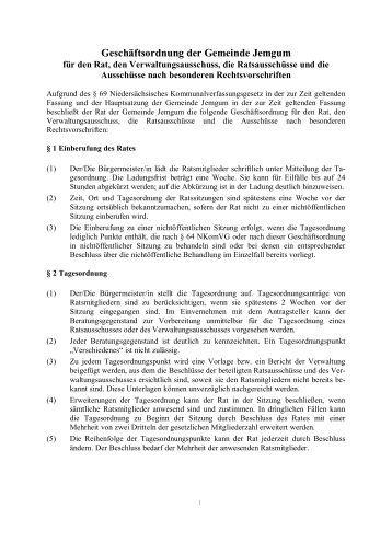 Geschäftsordnung der Gemeinde Jemgum
