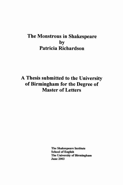 The monstrous in Shakespeare - eTheses Repository - University of ...
