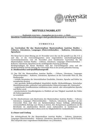 MITTEILUNGSBLATT - Universität Wien