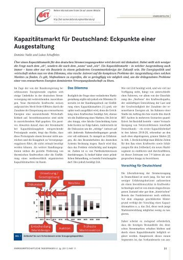 Kapazitätsmarkt für Deutschland: Eckpunkte einer ... - BET Aachen
