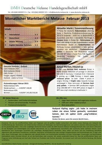 Monatlicher Marktbericht Melasse Februar 2013