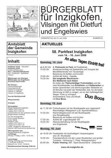 Amtsblatt der Gemeinde Inzigkofen Inhalt