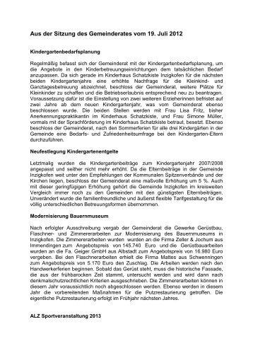 Aus der Sitzung des Gemeinderates vom 19. Juli 2012 - Inzigkofen