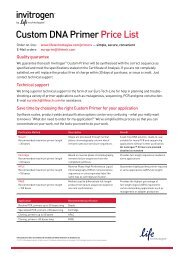Austria primer pricing information is available in PDF - Invitrogen