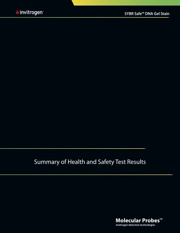 Summary of Health and Safety Test Results - Invitrogen