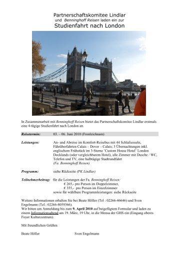 Anschreiben Studienfahrt London