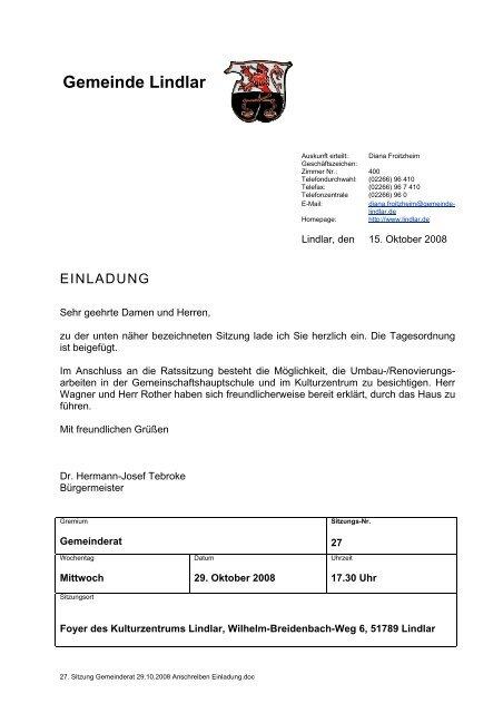 Sitzungsvorlage - Gemeinde Lindlar