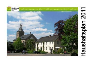 Haushaltsplan 2011 - Gemeinde Lindlar