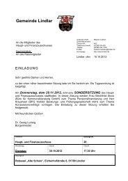 2012.10.30 20. Sitzung Haupt- und ... - Gemeinde Lindlar