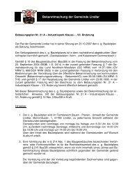 BP Nr. 21 A - Industriepark Klause -, VII. Änd  ... - Gemeinde Lindlar