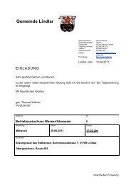 2011.06.29 06. Sitzung Betriebsausschuss ... - Gemeinde Lindlar
