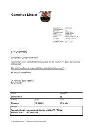 2011.12.13 20. Sitzung Gemeinderat - Einladung - Gemeinde Lindlar