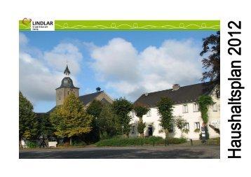 Haushaltsplan 2012 - Gemeinde Lindlar