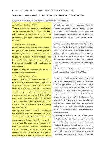 Adson von Toul / Montier-en-Der: DE ORTU ET ORIGINE ...