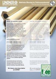 bleifreie Messinglegierungen - LINDNER ARMATUREN GmbH